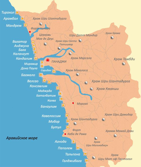 карта пляжей ГОА на русском