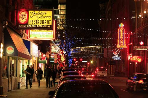 Greektown in Detroit night