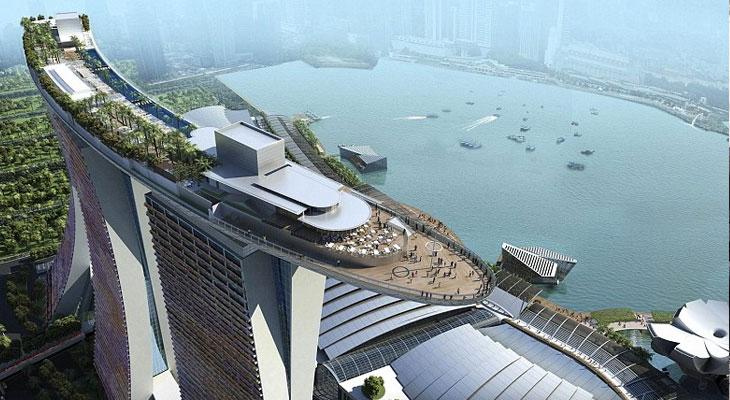 Вид с птичьего полёта на Marina Bay Sands