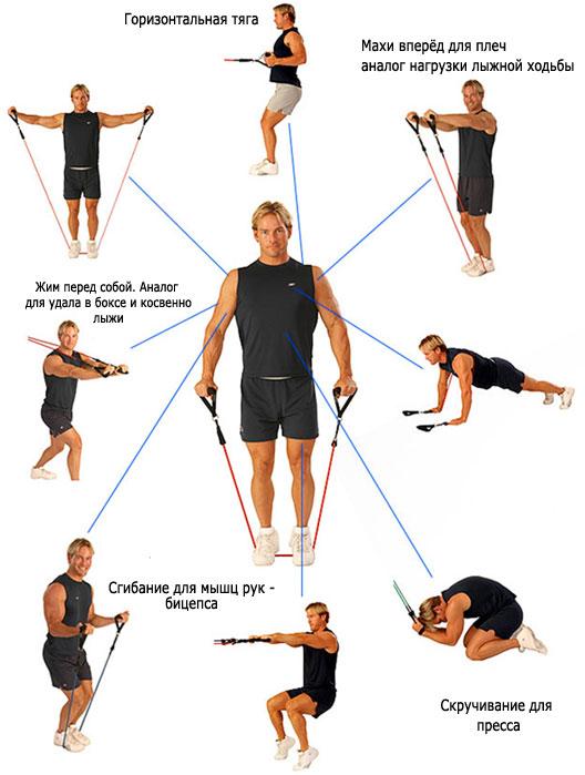 Упражнения с помощью эспандера лыжника