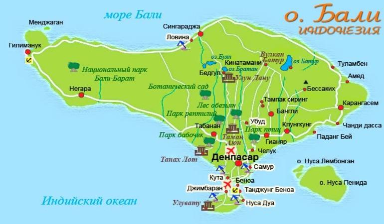 Карта достопримечательностей Бали